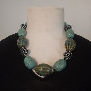 Jewelry - Large Ceramic Bead Teal Turquoise Necklace